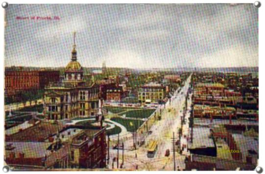 Heart of Peoria- Postcard of Towntown Peoria,IL